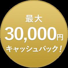 最大30,000円キャッシュバック!